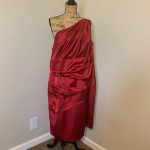 David's bridal one shoulder wine event dress Sz 22